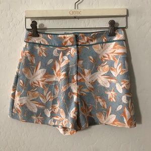 H&M blue orange floral high waist shorts D104